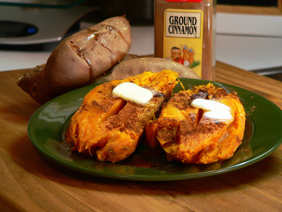 Serve the baked sweet potatoes while they're warm. Top with cinnamon sugar and butter if you like.