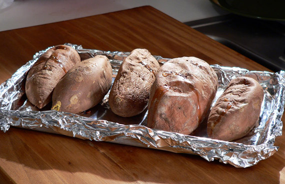 The baked sweet potatoes