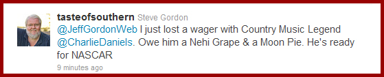 My tweet to Jeff Gordon