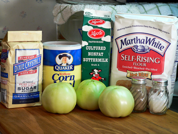 Ingredients you'll need to make fried green tomatoes.
