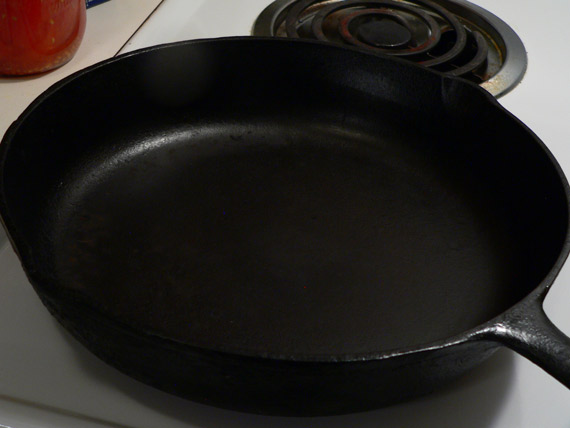 Warming up the cast iron skillet.