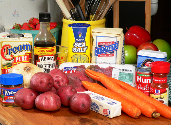Home made Beef Stew ingredients you will need.