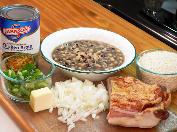 Ingredients needed to prepare our Hoppin John Recipe.