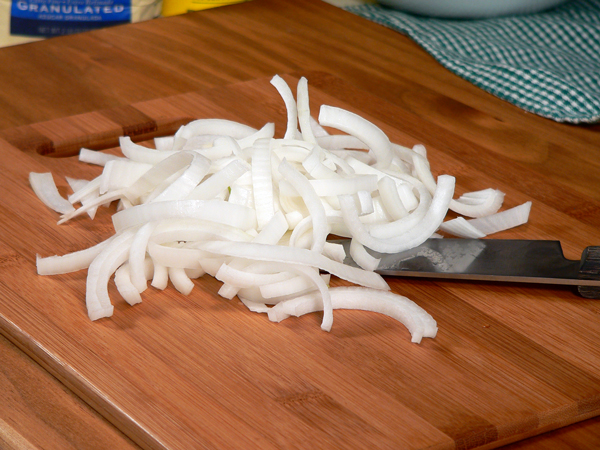 Slice up some onions.