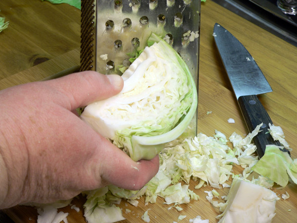 Grate the cabbage.