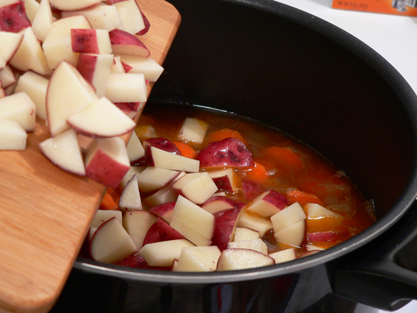 Add the potatoes.