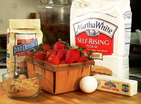 Strawberry Cobbler, these are the ingredients you will need.