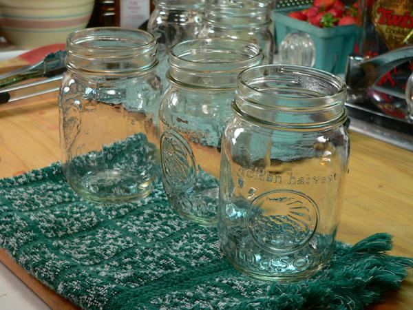 Strawberry Jam, set jars on a towel.