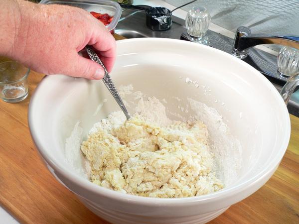 Strawberry Shortcake, stir the milk and flour together.