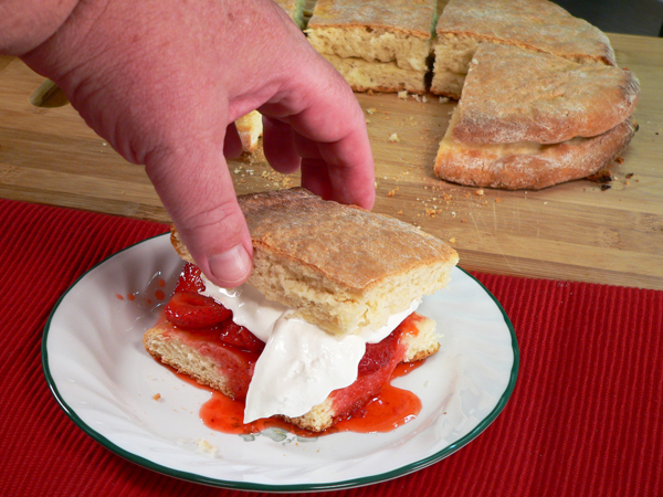 Strawberry Shortcake, add the top layer of the cake.
