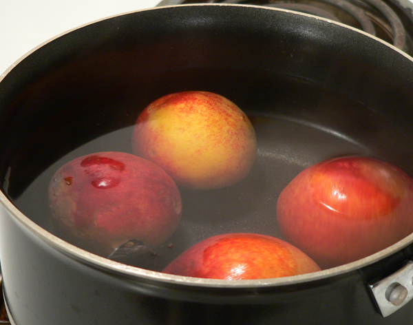 Peach Preserve Ice Cream, warm the peaches.