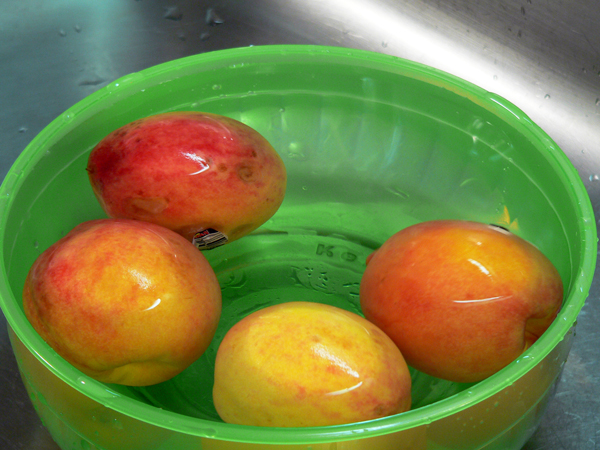 Peach Preserve Ice Cream, place in cold water.