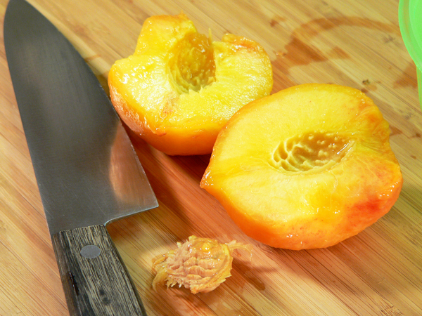 Peach Preserve Ice Cream, slice and remove the pit.
