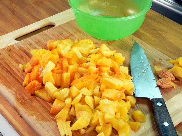 Peach Preserve Ice Cream, chop the peaches.