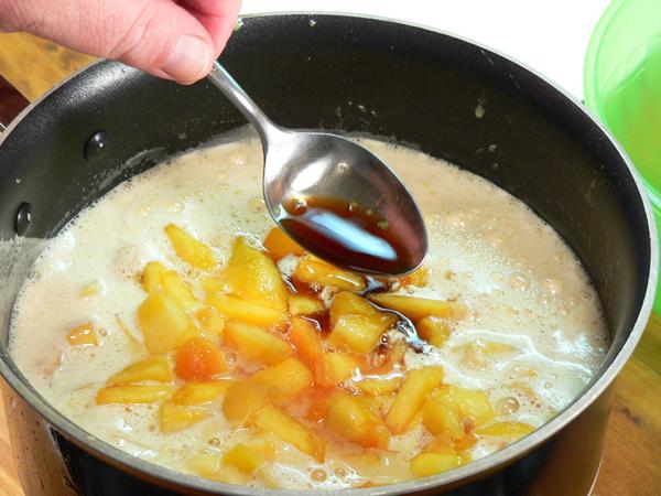 Peach Preserve Ice Cream, add vanilla extract.