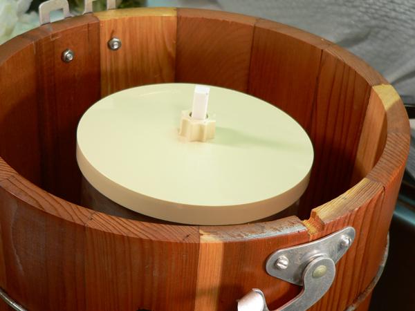 Peach Preserve Ice Cream, insert cannister in bucket.