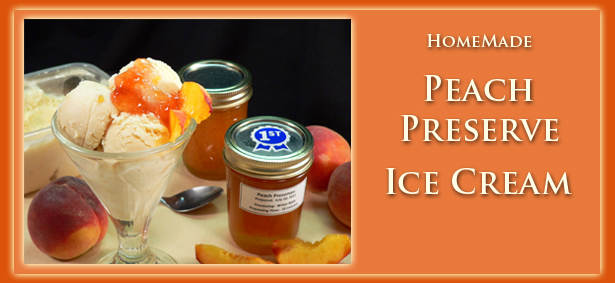 Homemade Peach Preserve Ice Cream