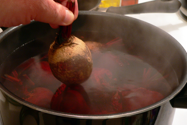 Pickled Beets, add beets to the boiling water.