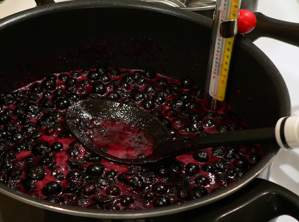 Blueberry Jam, cook the berries.