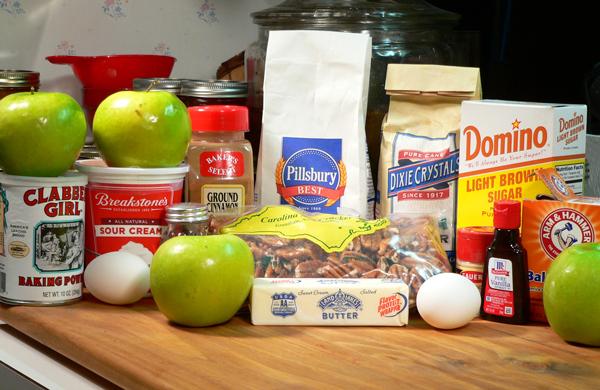 Praline-Apple Bread, ingredients.