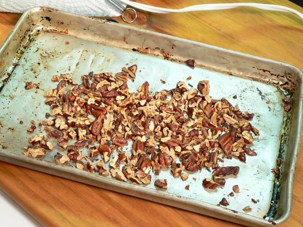 Praline-Apple Bread, the toasted pecans.