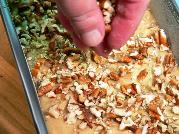 Praline-Apple Bread, add pecans to top of batter.