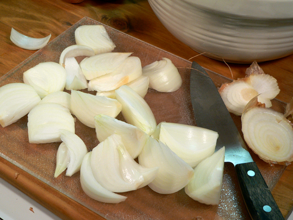 Roasted Vegetables, prepare the onions.