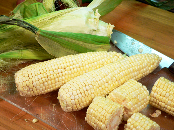 Roasted Vegetables, prepare the corn.