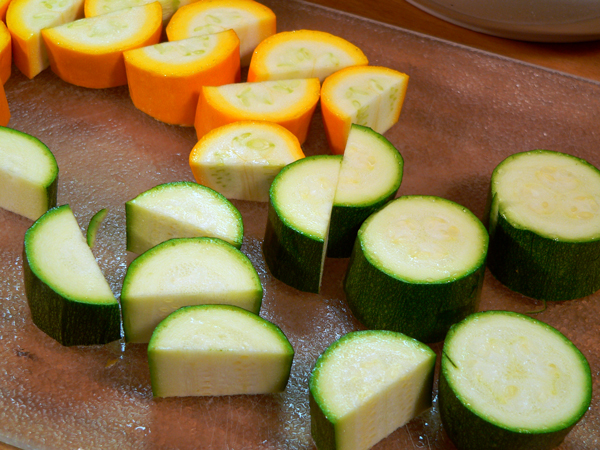 Roasted Vegetables, prepare the zucchini
