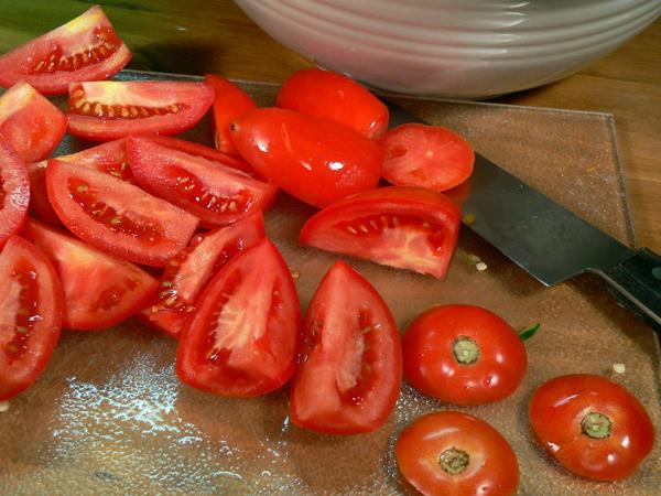 Roasted Vegetables, roma tomatoes.