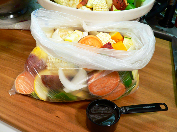 Roasted Vegetables, place in a bag.