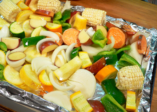 Roasted Vegetables, foil lined pan.