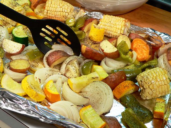 Roasted Vegetables, bake 20 minutes, then stir.