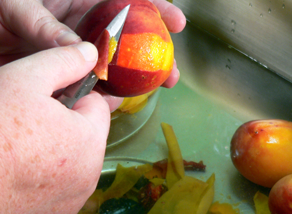 Peach Jam, drop in cold water and peel.