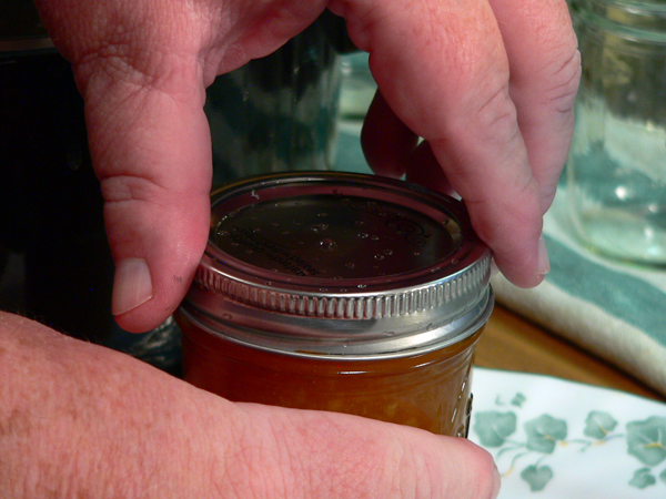 Peach Jam, finger tight.