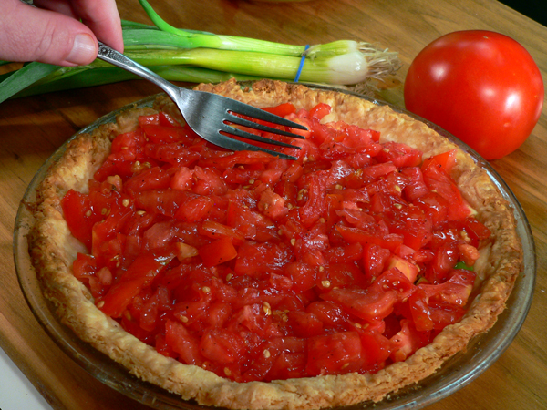 Tomato Pie Recipe, add the drained tomatoes.