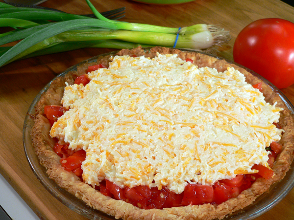 Tomato Pie Recipe, add the cheese mixture.