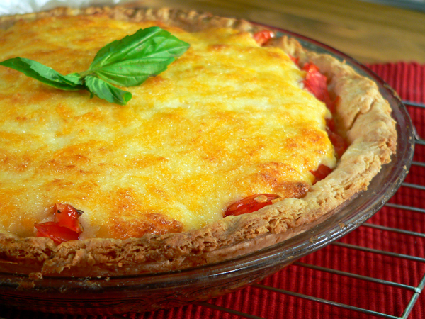 Tomato Pie Recipe, baked pie ready to serve.