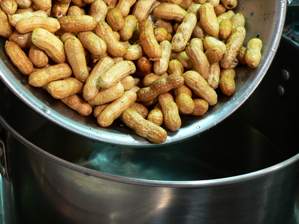 Boiled Peanuts, add the raw peanuts.