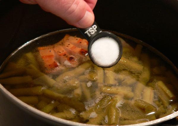 Southern Green Beans, add the salt.