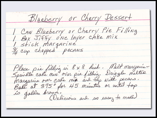 Quick Cherry Cobbler, Genelle's recipe card.