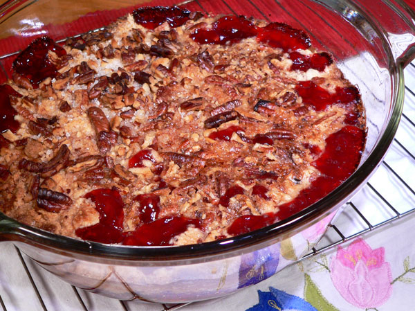 Quick Cherry Cobbler, bake and serve.