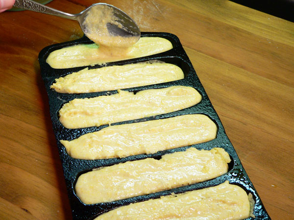 Southern Corn Sticks, fill the pan with the batter.