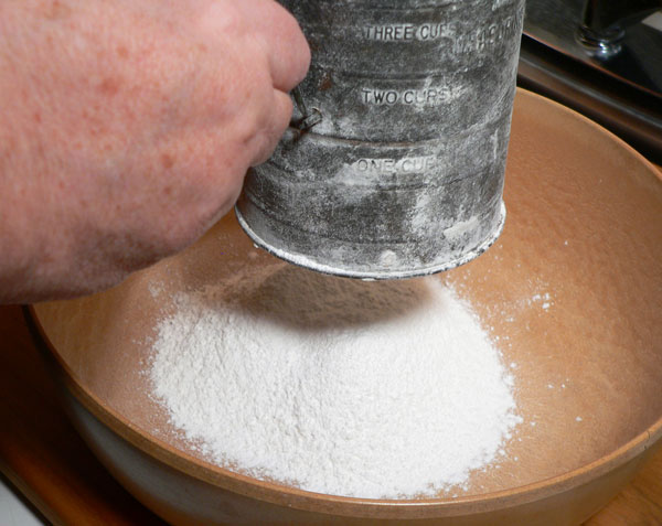 Mini Biscuits Recipe, sift the flour.
