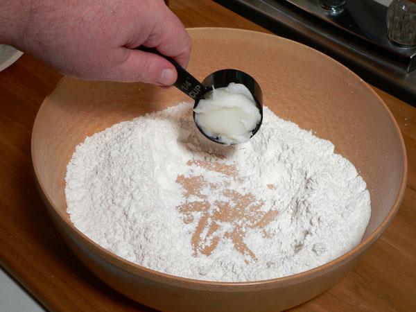 Mini Biscuits Recipe, add the lard.