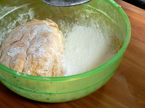 Sweet Potato Biscuits, add some more flour to the bowl.