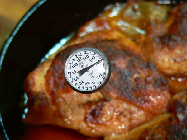Skillet BBQ Chicken, test for doneness.