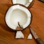coconut, cut a v-cut.