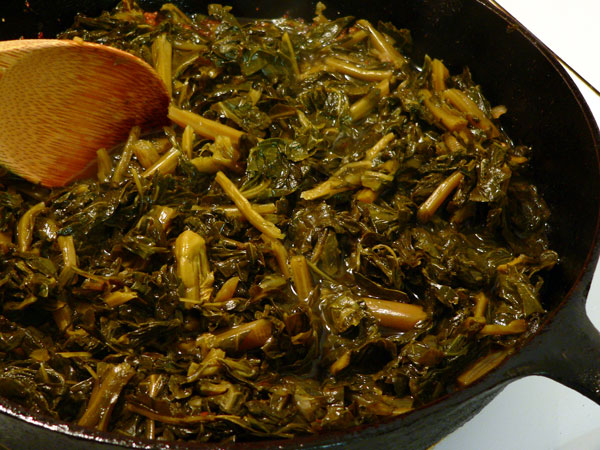Collard Sandwich, heat up the collards.