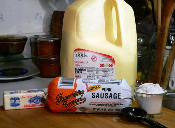 Sausage Gravy, ingredients.